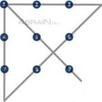 9 точек четыре линии